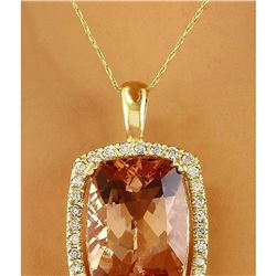 11.88 CTW Natural Morganite 14K Solid Yellow Gold Diamond Pendant Necklace