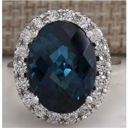 12.80CTW Natural London Blue Topaz And Diamond Ring In14K Solid White Gold