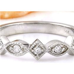 0.20 CTW Natural Diamond 14K Solid White Gold Ring