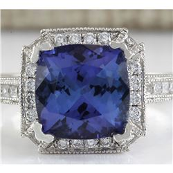 3.79 CTW Natural Blue Tanzanite And Diamond Ring In 18K White Gold