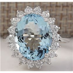 5.92 CTW Natural Aquamarine And Diamond Ring In 18K Solid White Gold