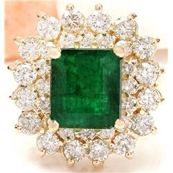 6.58 CTW Natural Emerald 14K Solid Yellow Gold Diamond Ring