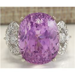 22.38 CTW Natural Kunzite And Diamond Ring In 14K Solid White Gold