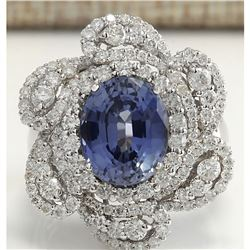6.96 CTW Natural Sapphire Diamond Ring 18K Solid White Gold