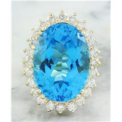 18.68 CTW Topaz 14K Yellow Gold Diamond Ring