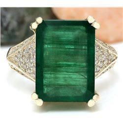 8.73 CTW Natural Emerald 14K Solid Yellow Gold Diamond Ring