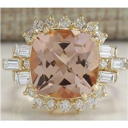 7.23 CTW Natural Morganite And Diamond Ring 14K Solid Yellow Gold