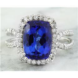 5.75 CTW Tanzanite 18K White Gold Diamond Ring
