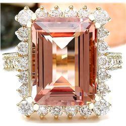 11.29 CTW Natural Morganite 18K Solid Yellow Gold Diamond Ring
