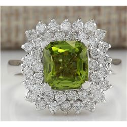 3.55 CTW Natural Peridot And Diamond Ring 18K Solid White Gold