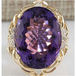 14.91 CTW Natural Amethyst And Diamond Ring 18K Solid Yellow Gold