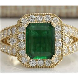 3.29 CTW Natural Emerald And Diamond Ring 18K Solid Yellow Gold