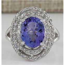4.83 CTW Natural Blue Tanzanite And Diamond Ring 18K Solid White Gold