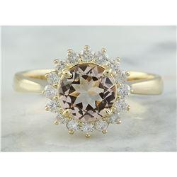 1.50 CTW Morganite 18K Yellow Gold Diamond Ring