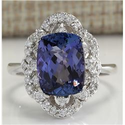 4.75 CTW Natural Blue Tanzanite And Diamond Ring 18K Solid White Gold