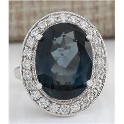 12.03 CTW Natural London Blue Topaz And Diamond Ring In 18K White Gold