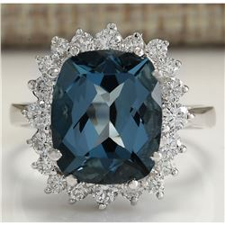 6.46CTW Natural London Blue Topaz And Diamond Ring In18K Solid White Gold