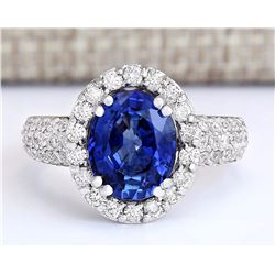 4.75 CTW Natural Ceylon Sapphire And Diamond Ring In 18K White Gold