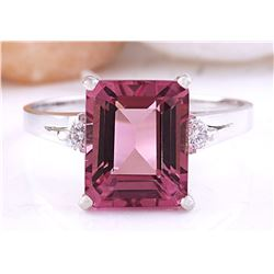 3.89 CTW Natural Tourmaline 14K Solid White Gold Diamond Ring