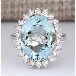 9.12 CTW Natural Aquamarine And Diamond Ring In 14k White Gold