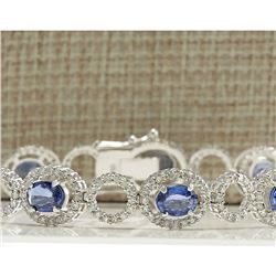12.42 CTW Natural Sapphire And Diamond Bracelet In 14K Solid White Gold