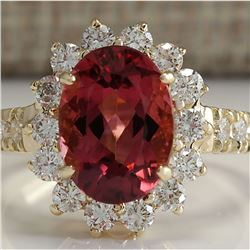 4.07 CTW Natural Pink Tourmaline And Diamond Ring 14K Solid Yellow Gold