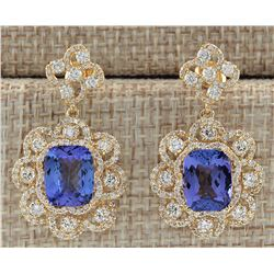 9.30 CTW Natural Tanzanite And Diamond Earrings 18K Solid Yellow Gold