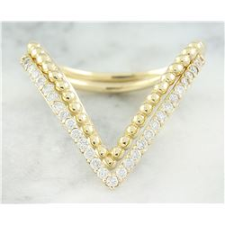 0.28 CTW Diamond 14K Yellow Gold Double V Ring