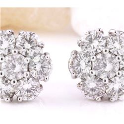 3.00 CTW Natural Diamond 18K Solid White Gold Earrings