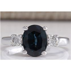 2.47 CTW Natural Blue Sapphire Diamond Ring 14K Solid White Gold