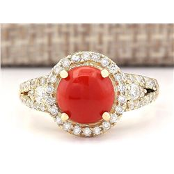 2.40 CTW Natural Coral And Diamond Ring In 14k Yellow Gold