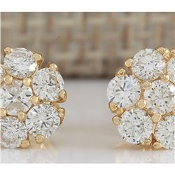1.00 CTW Natural Diamond Earrings 14K Solid Yellow Gold