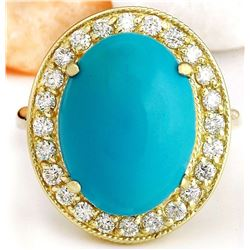 9.12 CTW Natural Turquoise 14K Solid Yellow Gold Diamond Ring