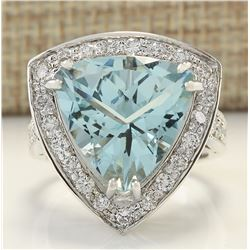 8.48 CTW Natural Aquamarine And Diamond Ring In 18K White Gold