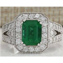 3.23 CTW Natural Colombian Emerald And Diamond Ring 18K Solid White Gold