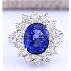 5.55 CTW Natural Ceylon Sapphire And Diamond Ring In 18K White Gold