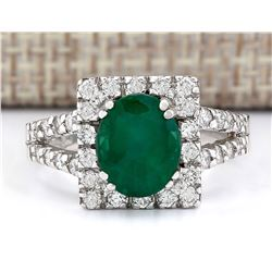 2.89 CTW Natural Emerald And Diamond Ring In 18K White Gold