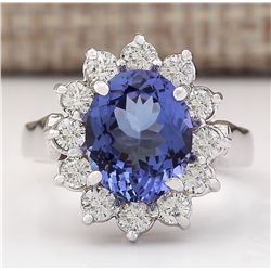 3.65 CTW Natural Blue Tanzanite And Diamond Ring 18K Solid White Gold