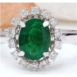 1.51 CTW Natural Emerald 18K Solid White Gold Diamond Ring