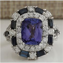 6.90 CTW Natural Tanzanite Sapphire And Diamond Ring In 18K White Gold