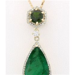 10.00 CTW Natural Emerald And Diamond Pendant In 18K Solid Yellow Gold