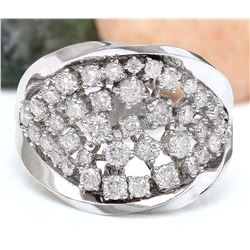 1.40 CTW Natural Diamond 18K Solid White Gold Ring