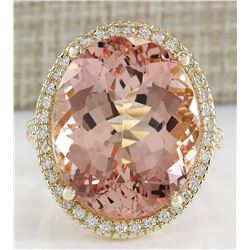 26.56 CTW Natural Morganite And Diamond Ring In 18K Yellow Gold