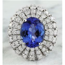5.45 CTW Tanzanite 18K White Gold Diamond Ring