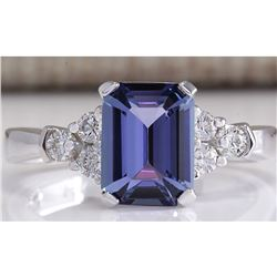 2.40 CTW Natural Blue Tanzanite And Diamond Ring 14K Solid White Gold