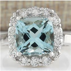 4.17 CTW Natural Blue Aquamarine And Diamond Ring 18K Solid White Gold