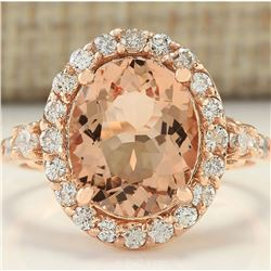 4.00 CTW Natural Morganite And Diamond Ring In 14K Rose Gold