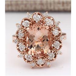 4.58 CTW Natural Morganite And Diamond Ring In 18K Rose Gold