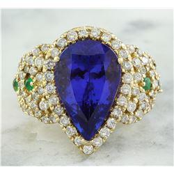 8.47 CTW Tanzanite, Emerald 18K Yellow Gold Diamond Ring