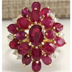 6.04Tw Natural Red Ruby And Diamond Ring 14K Solid Yellow Gold